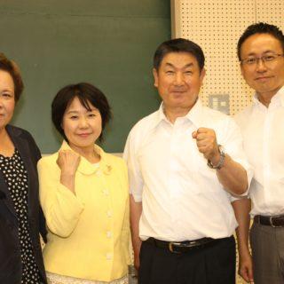 愛知県武豊町支部会へ 新人の 「とみなが良一」さん 「かい百合子」さん 大先輩の「加藤みなこ」さんと共に