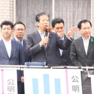 山口代表に応援に駆けつけて頂き県下で街頭演説会
