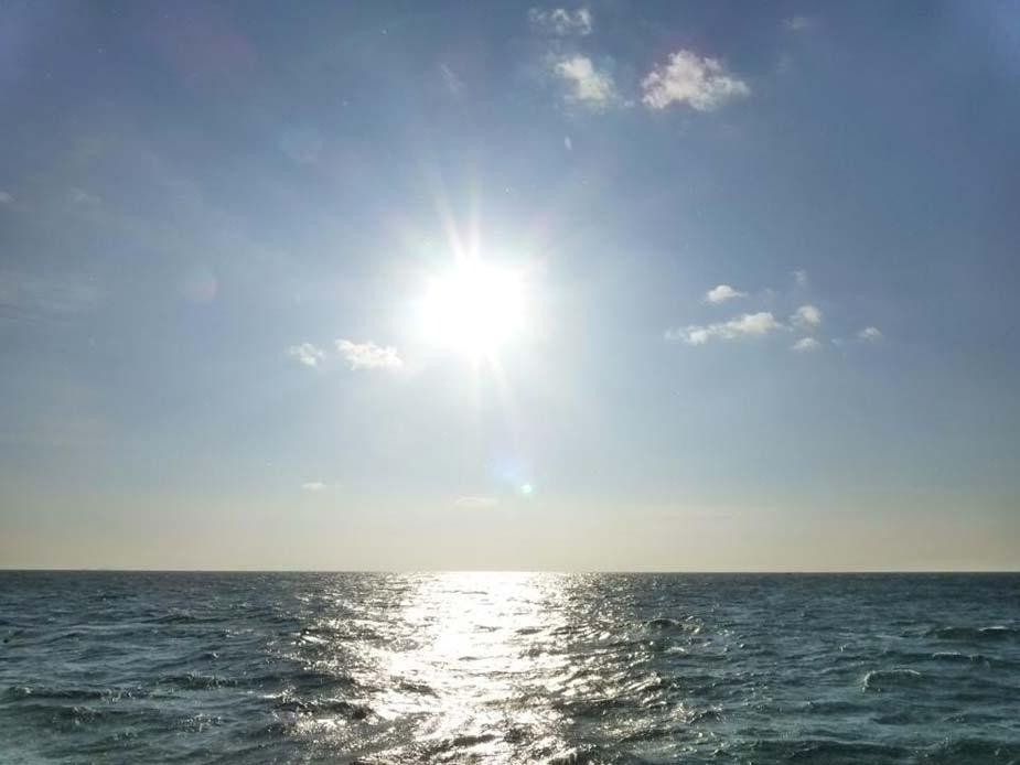 神島から移動する船上からの旭日