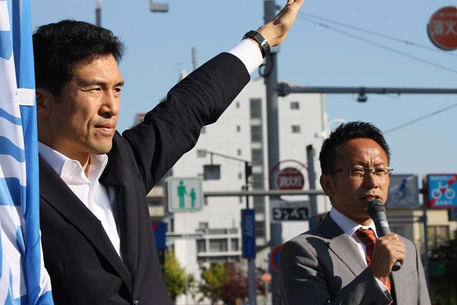 参議院選挙愛知選挙区予定候補者「新妻ひでき」さんと共に