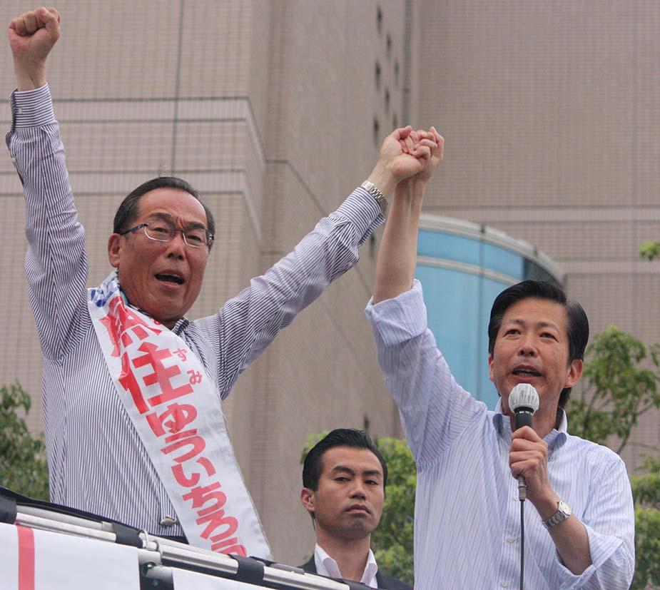三重県四日市市にて、山口代表を迎えての街頭演説会