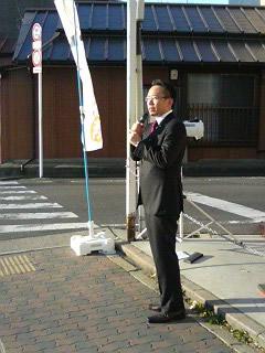 地元の名鉄本笠寺駅周辺での街頭演説