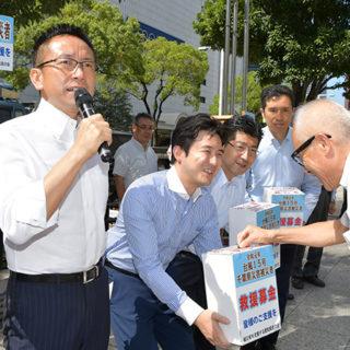 真心の支援を呼び掛ける伊藤県代表(左から2人目)ら=5日 名古屋市