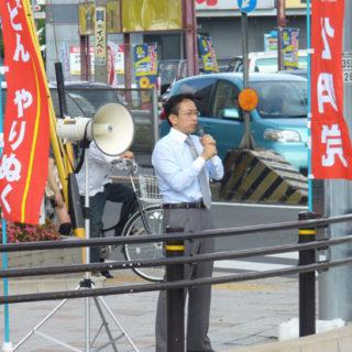 名古屋市南区の星崎1丁目交差点で街頭演説