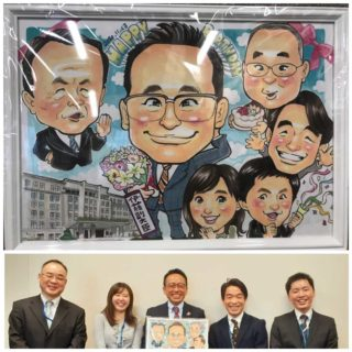 麻生大臣と副大臣室全員の似顔絵