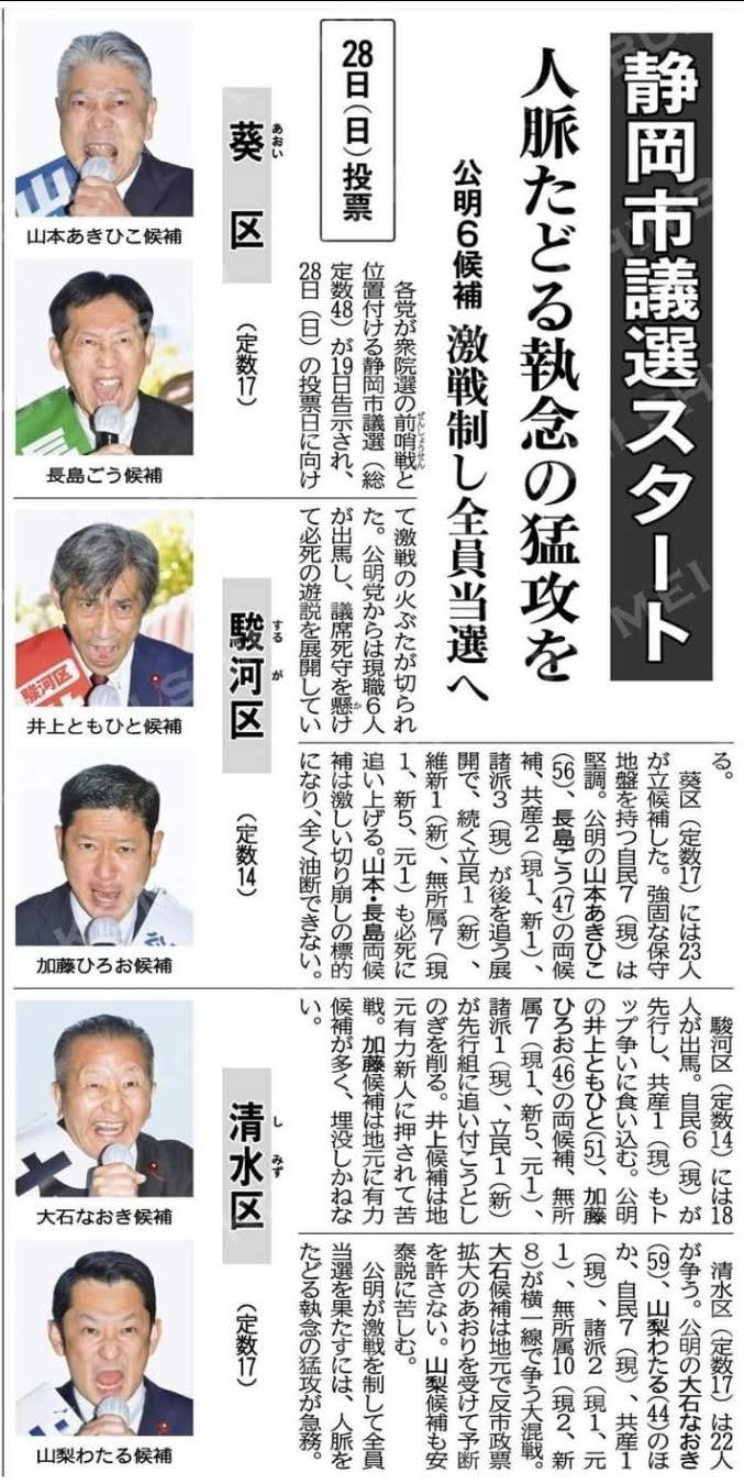 静岡県市議選がスタート❗️