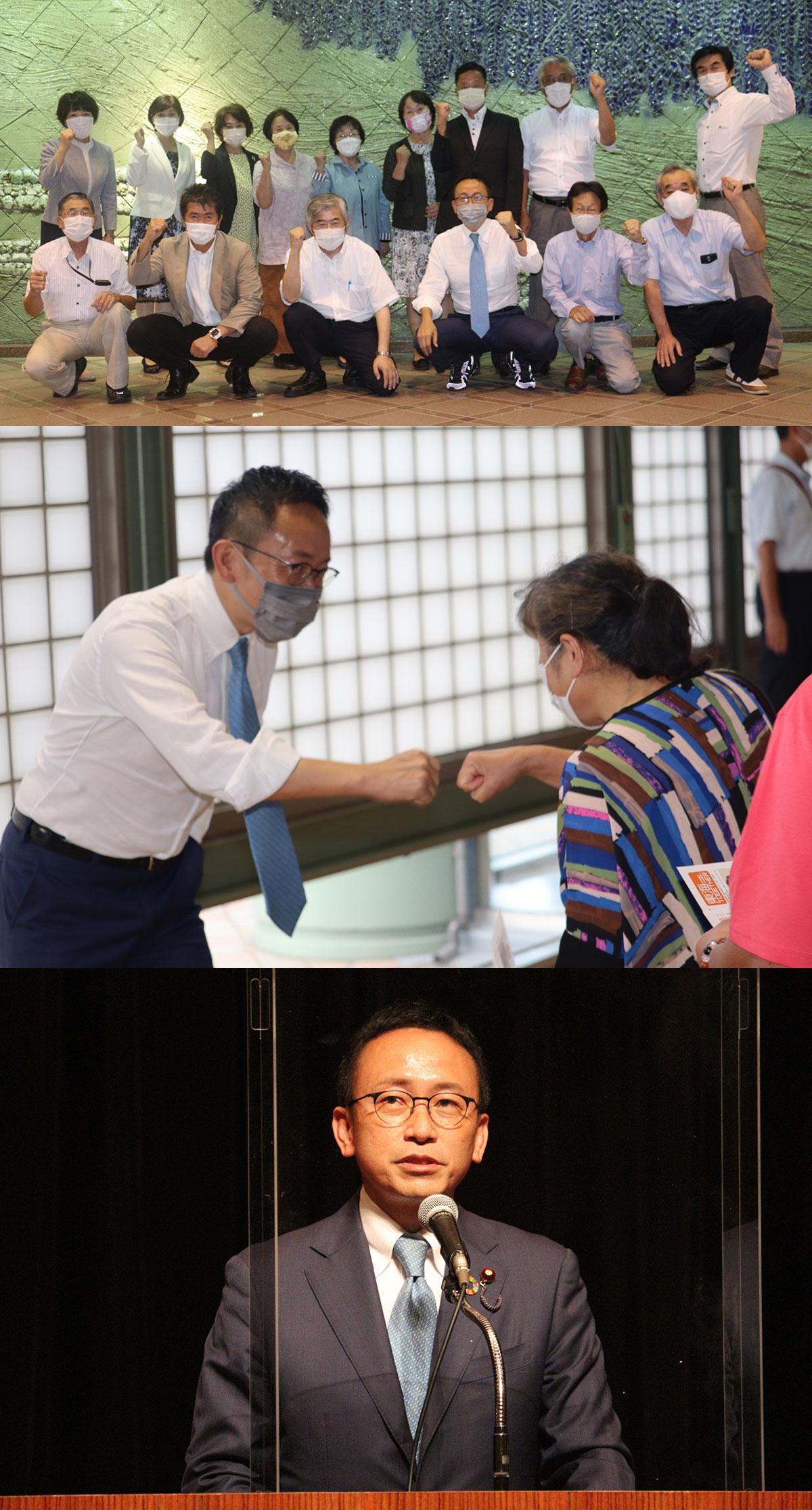 愛知9区内を自民党の長坂康正衆院議員とともに奔走